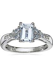 Sterling Silver, Aquamarine, Blue Topaz, and Diamond Emerald-Cut Ring