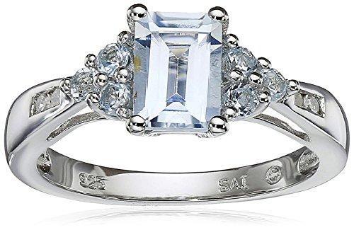 Sterling Silver Aquamarine, Blue Topaz and Diamond Octagon Ring, Size (Vintage Cut Diamond)