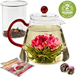 Teabloom AMORE Glass Teapot Gift Set – Borosilicate Glass Teapot with Infuser – 4-6 Cups (34 oz) – Two Blooming Tea Flowers Included