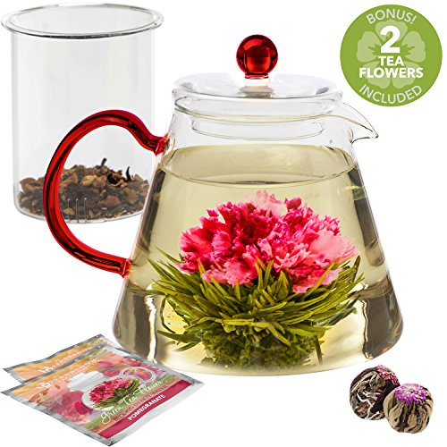 Teabloom Amore Glass Teapot – Borosilicate Glass Teapot with Infuser – 4-6 Cups (34 oz) – Two Blooming Tea Flowers Included