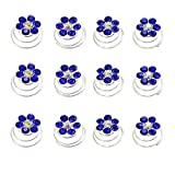Newstarfactory Rhinestone Studded Collection Flower Spiral Hair Pin Pack of 12 with Exclusive Gift (Royal Blue)