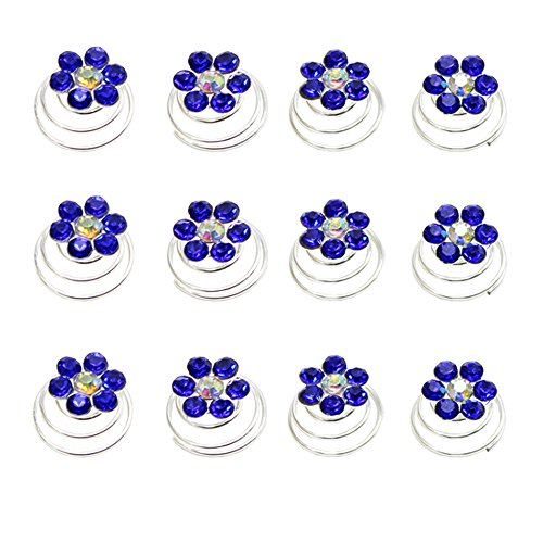 Newstarfactory Rhinestone Studded Collection Flower Spiral Hair Pin Pack of 12 with Exclusive Gift (Royal Blue) - Exclusive Wedding Gown