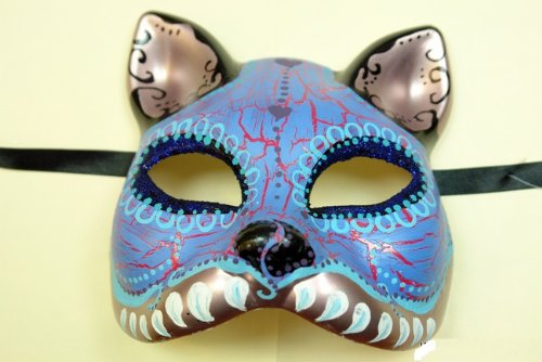 Blue Cat Figure Half Face Hand-painted Paper Mache Mask