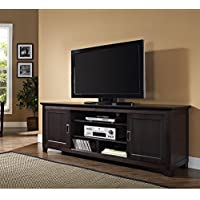 Herdede 70 Espresso Wood TV Stand with Sliding doors