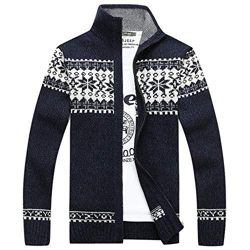 Mens Jacket Godathe Slim Fit Knitted Leisure Zipper Plush Coat Sweatshirt ()