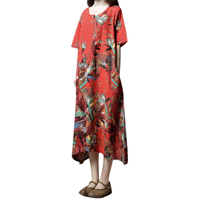 003db5a9944 Amazon.com  peacur Women Short Sleeve Dresses Fashion Summer O-Neck Cotton  and Linen Loose Print Casual Maxi Dress  Clothing