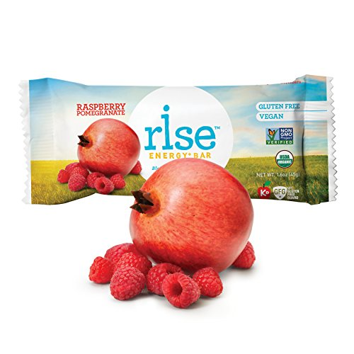 Rise Bar Organic, Vegan Energy Bars, Raspberry Pomegranate, 12-Count