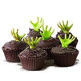 (24) Graveyard Cupcake Kit - Zombie Monster Hand Topper Picks, Standard Brown Grease Proof Baking Cups, Dark Brown Sugar Walking Dead