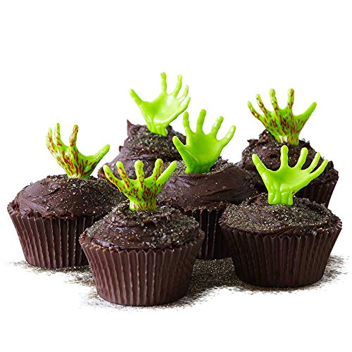 (24) Graveyard Cupcake Kit - Zombie Monster Hand Topper Picks, Standard Brown Grease Proof Baking Cups, Dark Brown Sugar Walking Dead