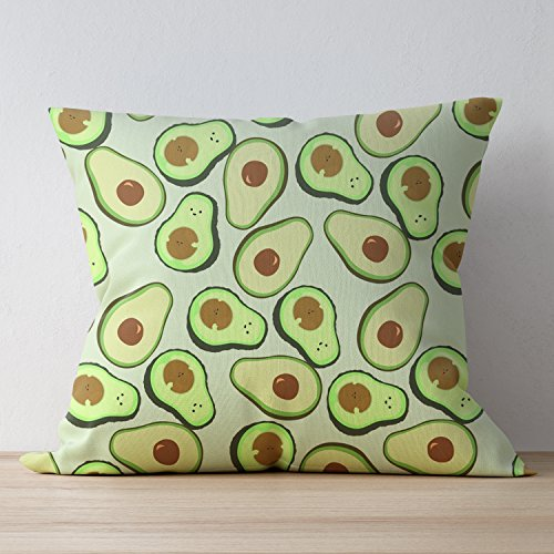 (BYNCO Zipper Throw Pillowcase Green And Fresh Avacado Polyester Home Decorative Throw Pillow Covers Cushion Cover for Bed Sofa Office Chair Car Seat Kids Room - 22 x 22 Cushion Case)