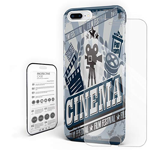 Compatible with iPhone 7 Plus Case and iPhone 8 Plus Case, Hard PC Back Phone Case with Tempered Glass Screen Protector Film Festival Cinema Elements Shockproof Cover ()