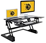 "Husky Mounts Fully Assembled Sturdy Standing Desk Converter Sit Stand Height Adjustable Computer Desk 36""x 24"" Dual Monitor Stand up Desk Elevating Heavy-Duty Monitor Riser Desktop. No Assembly Needed"