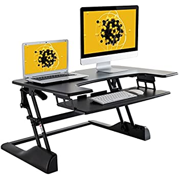 """Husky Mounts Fully Assembled Sturdy Standing Desk Converter Sit Stand Height Adjustable Computer Desk 36""""x 24"""" Dual Monitor Stand up Desk Elevating Heavy-Duty Monitor Riser Desktop. No Assembly Needed"""