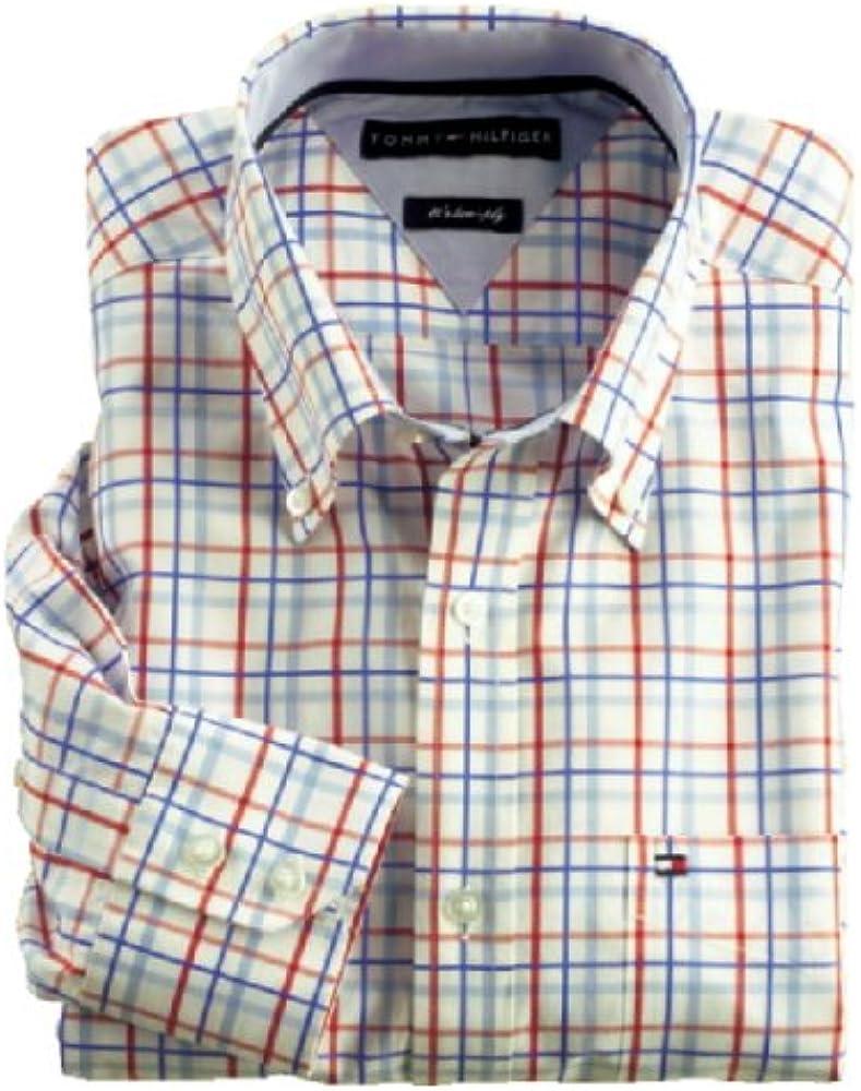 Tommy Hilfiger Camisa Hombres, XXL, Color Rojo/Azul/Cuadrícula: Amazon.es: Ropa y accesorios