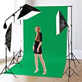 CRAPHY Photography Studio Lights Continuous Soft Box Lighting Kit 45W 5500k Daylight Soft Box (20x26) + Background Support Stand (10x6.5FT) + 3 Backdrops (9x6FT, White Back Green) + Carrying Bag