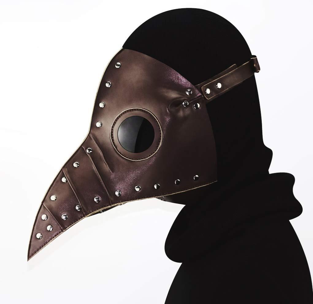 WFTD Steampunk Peste Pico Máscara Halloween Props Regalo PU Cuero Máscara De Metal para Jóvenes Y Adultos para Llevar Personalidad De Moda Marrón