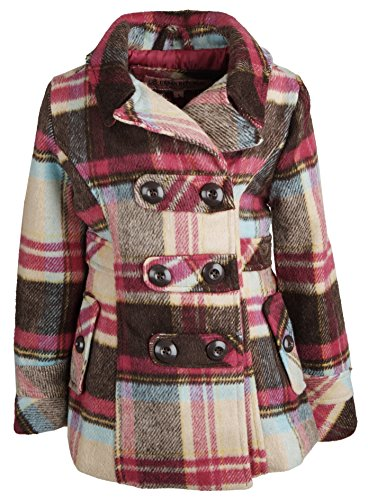 9770042a124 Urban Republic Little Girls Classic Wool Look Hooded Winter Dress Peacoat  Jacket - Plaid 28 (