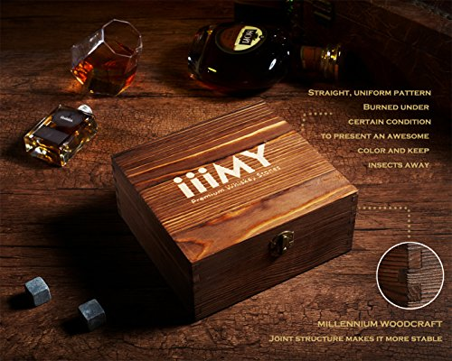 iiiMY Whiskey Stones and Glasses Gift Set, Whiskey Rocks Chilling Stones in Premium Handmade Wooden Box¨C Cool Drinks without Dilution ¨C Whiskey Glasses Set of 2, Gift for Dad, Husband, Men by iiiMY (Image #2)