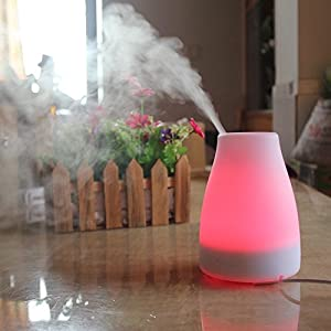 Essential Oil Diffuser & Air Humidifier with 7 Color LED Lights, Great For Aromatherapy & Mood Lighting, Adjustable Cool Mist Mode, Portable, 100 ml, By Tiabo