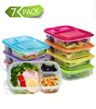 Meal Prep Containers 3 Compartment,7 Pack Bento Lunch Box Portion Control,Food Storage with Lids,Stackable,Reusable,Microwave,Dishwasher,Freezer Safe(26oz)
