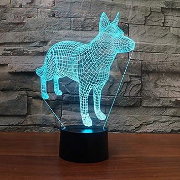Amazon.com: Lámpara de mesa 3D para perro, pastor alemán ...