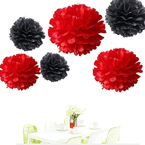 Since12 pcs of 8 10 14 3 colors mixed black and red tissue paper since12 pcs of 8 10 14 3 colors mixed black and red tissue paper flowers tissue paper pom pomswedding party decorpom pom flowerstissue paper flowers mightylinksfo