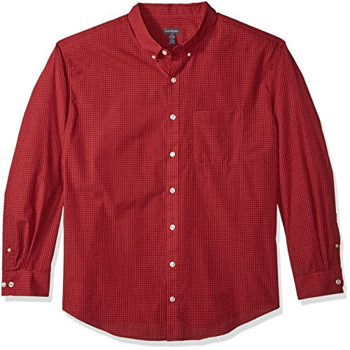 Van Heusen Men's Size Big and Tall Wrinkle Free Poplin Long Sleeve Button Down Shirt, Rusty Red, 3X-Large