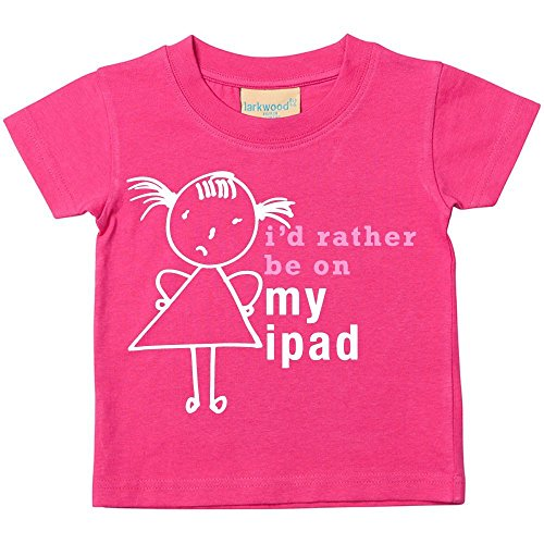 Price comparison product image 60 Second Makeover Limited Big Girls' I'd Rather Be On My iPad T-Shirt Daughte 9-11 Years Pink