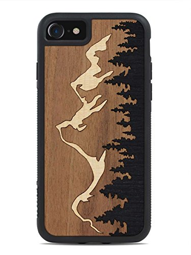 Grand Teton Inlay - iPhone 8 - Black Traveler Protective Wood Case by Carved, Unique Real Wooden Phone Cover (Rubber Bumper, Fits Apple iPhone 8)