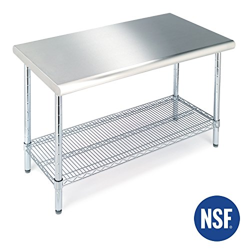 Seville Classics Commercial NSF Stainless Steel Top Worktable 49 x 24 inches