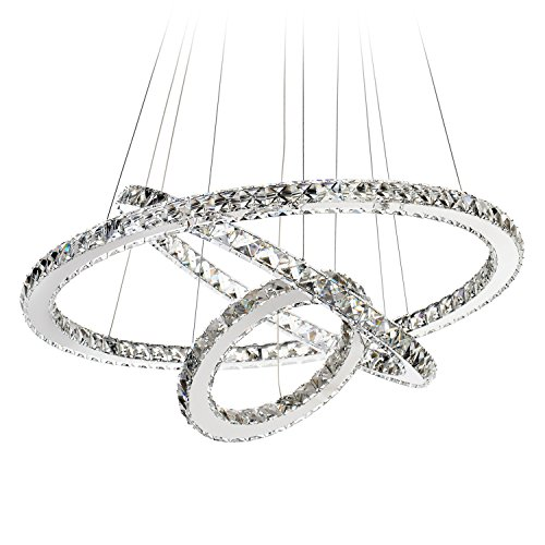 Dearlan Modern Chandelier Pendant Lighting Ceiling Light Fixture Cool White 3 Rings