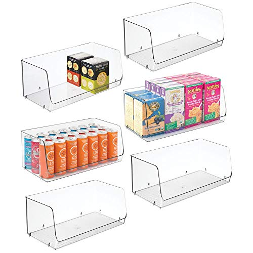 mDesign Extra Large Household Stackable Plastic Food Storage Organizer Bin Basket with Wide Open Front for Kitchen Cabinets, Pantry, Offices, Closets, Bedrooms, Bathrooms - 15 Wide, 6 Pack - Clear