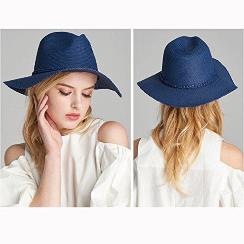 Scuro Estivo Blu Moda Paglia colore In Gray Zhaoshunli Sole Alla Di Donna Spiaggia Estiva Cappello Da Visiera ZaEqCwU