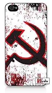 Distressed Look Russian Communist Symbol Iphone 5 Quality TPU SOFT RUBBER Snap On Case for Iphone 5 - AT&T Sprint Verizon - White Case