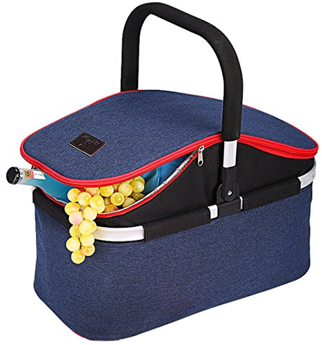 YAPA Soft Cooler Bag 30L Family Size Insulated Folding Picnic Basket Service for 4 Person's Food and Drink Keep Hot/Cold/Fresh for Hours Waterproof Insulation Tote With Aluminum Handle-Blue ()