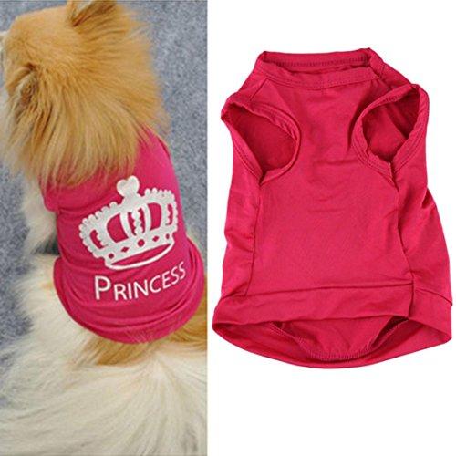 Clearance Cinsanong Pet Summer Clothes Vest Promotion! Princess T-shirt Clothes Crown Print Pet Apparel Puppy T-Shirt Clothes Outfit Dog Coat (Hot Pink, X-Small)
