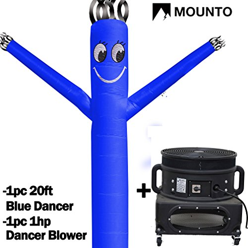 MOUNTO 20ft Air Sky Puppet Dancing Dancer with 1HP Blower Complete Set, 20-Feet 18Inch - Inch Smile Face 18