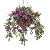 OakRidge Fully Assembled Impatiens Hanging Basket – Large Artificial Flower Outdoor or Indoor Decoration with Hook - Purple