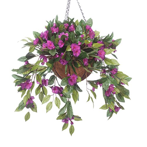 OakRidge Fully Assembled Impatiens Hanging Basket - Large Artificial Flower Outdoor or Indoor Decoration with Hook - Purple
