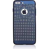 Microcase Apple iPhone 7 Plus Mesh Delikli Rubber Kılıf+Tempered Cam, LACİVERT