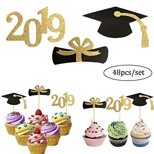 CheeseandU 48Pcs/Set 2019 Graduation Cupcake Toppers Food/Appetizer/Fruit Picks For Graduation Party Mini Cake Decorations, Gold Glitter Diploma, 2019, Grad Cap Decoration Cake Toppers]()