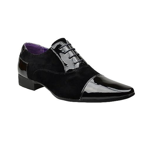 Zapatos para hombre, estilo clásico y formal, con cordones, de ante sintético, color Negro, talla 42.5