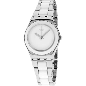 Swatch Irony White Dial Stainless Steel with Ceramic Ladies Watch YLS141GC