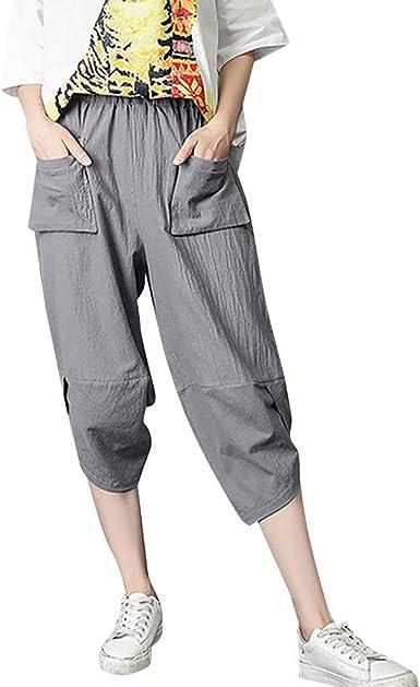 TUDUZ Mujer Pantalones De Algodón Y Lino Pantalón Casual De Siete Puntos De Longitud: Amazon.es: Ropa y accesorios