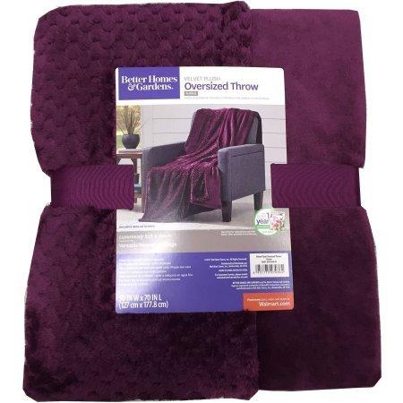 Better Homes And Gardens Oversized Purple Polyester Reversible Velvet Plush Throw Blanket