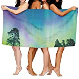 TRUSTINEEg Sky Over Lake Surrounded Forest Woods Hemisphere Print Womens Spa Shower Bath Towels Traveling Quick-drying Sports Swimming Beach Towel