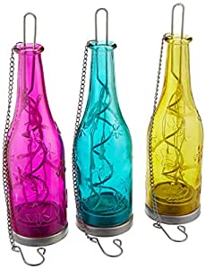 Fiesta para colgar botella de cristal 3unidades con relieve efecto y luces LED
