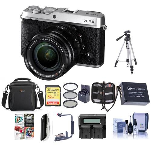 Fujifilm X-E3 Mirrorless Camera with XF 18-55mm f/2.8-4 R LM OIS Zoom Lens, Silver - Bundle with Camera Case, 32GB SDHC U3 Card, Spare Battery, Tripod, Flip Flash Bracket, 58mm Filter Kit and More