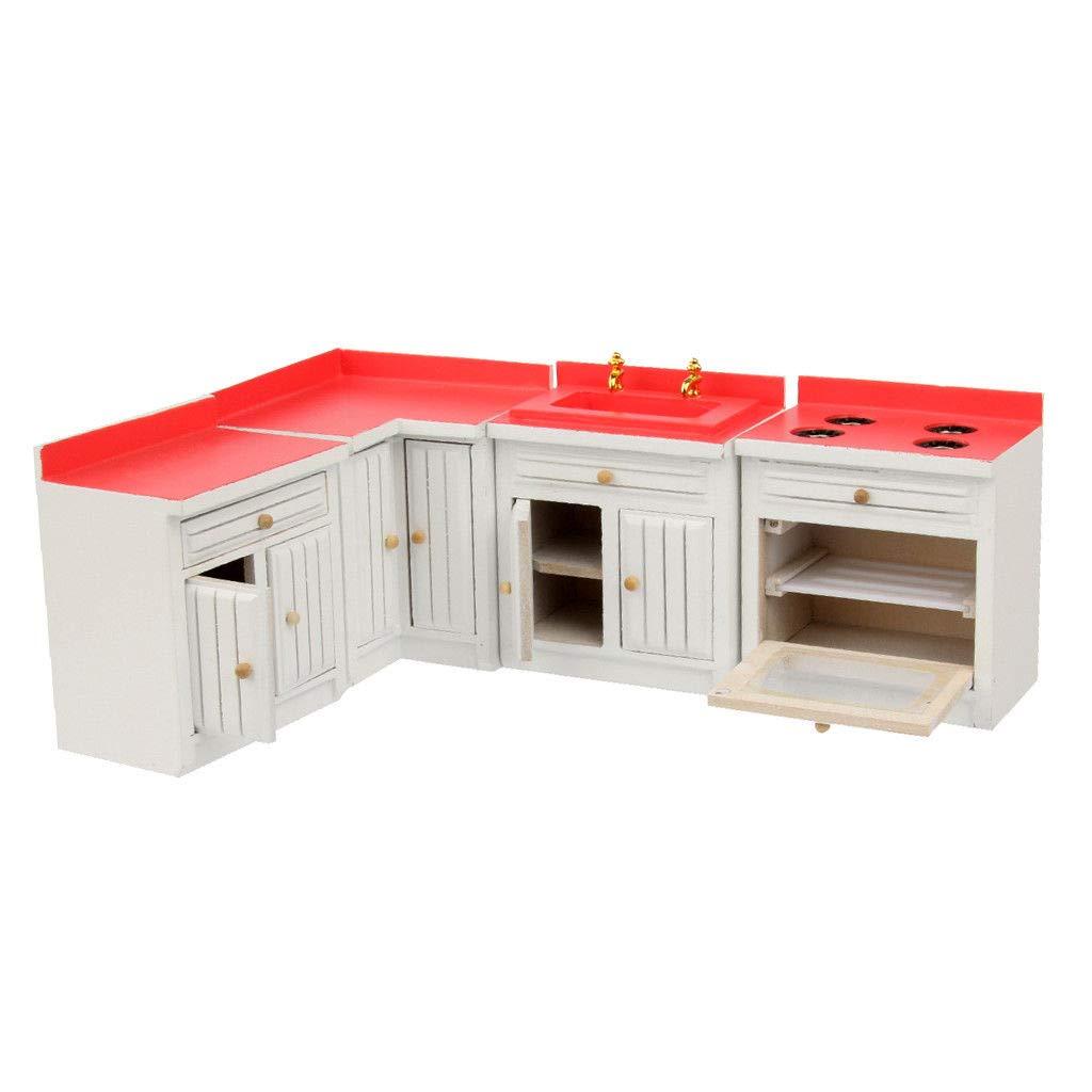 1/12 Miniature Furniture Wood Kitchen Stove Washing Cabinet Dollhouse Decor