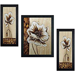 Incredible Flower Framed Painting (Wood,35 cm x 3 cm x 50 cm, Set of 3, Textured UV Reprint)